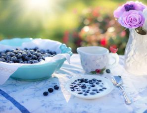 Blueberries used as a part of breakfast